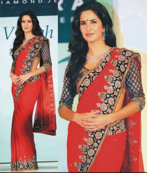 Katrina Kaif Exclusive Red Georgette Fancy Design Bollywood Saree DLI4SRR515