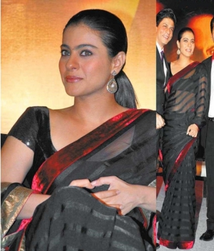 Kajol Exclusive Royal Black New Stripe Design Net Bollywood Saree DLI4SRR516