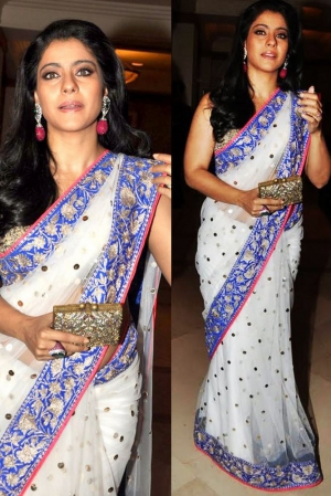 Kajol Exclusive Designer Border Net Work Modern White Bollywood Saree DLI4SRR528