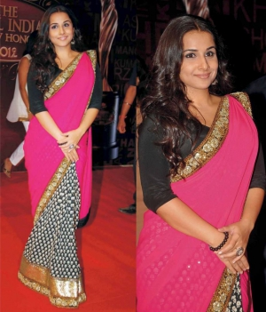 Vidya Balan Attractive Multi Floral Design Colorful Bollywood Saree DLI4SRR587