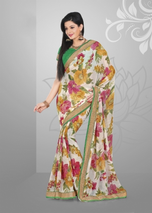 Varanga White and Yelllow saree with unstitched blouse FRL8001A