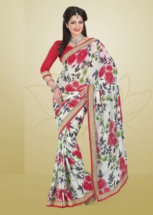 Varanga White and Pink saree with unstitched blouse FRL8006A