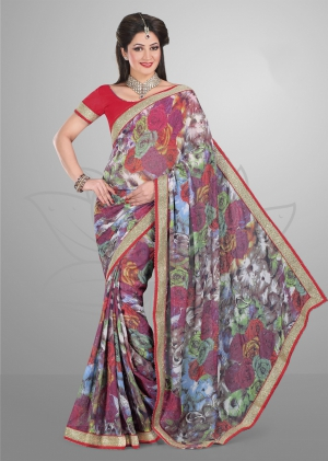 Varanga Grey and Red saree with unstitched blouse FRL8009A