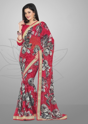 Varanga Red and Grey saree with unstitched blouse FRL8011B