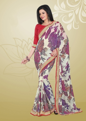 Varanga Off White and Purple saree with unstitched blouse FRL8012B