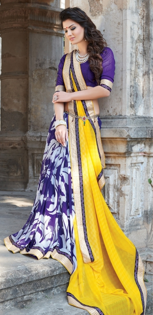 Varanga Yellow and Purple saree with unstitched blouse K-SGM1856