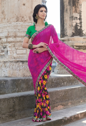 Varanga Pink saree with unstitched blouse K-SGM1863