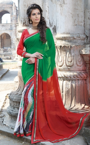Varanga Green and Red saree with unstitched blouse K-SGM1865