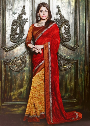 Varanga Red and Yellow saree with unstitched blouse K-SRA5006