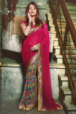 Varanga Pink and Multi saree with unstitched blouse K-SRA5007