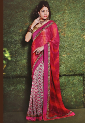 Varanga Red and Yellow saree with unstitched blouse K-SRA5016