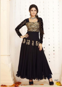 Beautifull Fancy Black Embriodered Anarkali salwar suit uf549007
