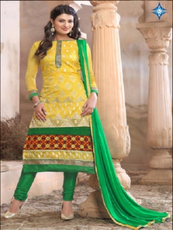 New Arrival Yellow With Green Anarkali Suit uf6025