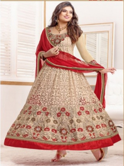 New Sayali Bhagat Cream Color Ankle Langth Anarkali suit uf782003