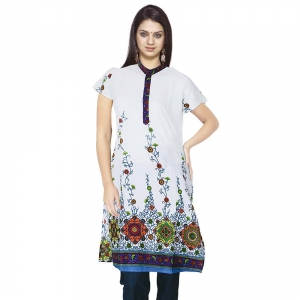 Designer White Girls Indian Pure Cotton Kurti Cotton Kurti Kurti DLI4KUR101
