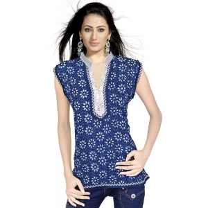 Floral Design Girls Hand Block Blue Cotton Top Woman Cotton Kurti DLI4KUR109