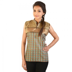 Ethnic Girls Resham Zari Work Brown Cotton Top Cotton Top Kurti DLI4KUR138