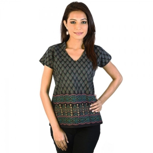 Jaipuri Designer Multi Print Black Cotton Top Woman Cotton Kurti DLI4KUR163