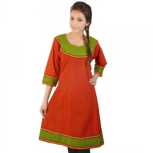 Designer Dotted Print Red-Green Cotton Kurti Red-Green Cotton Kurti DLI4KUR176