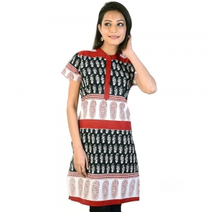 Hand block Print Black-White Ethnic Cotton Top Black-White Kurti DLI4KUR180