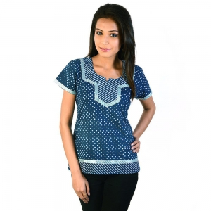 Designer Silver Block Print Blue Cotton Top Blue Girls Kurti DLI4KUR188