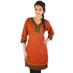 Ethnic Girls Hand Block print Red Cotton Kurti Woman Cotton Kurti DLI4KUR197
