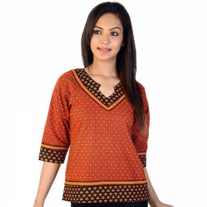 Designer Hand Block Ethnic Red-Black Cotton Top Red-Black Kurti DLI4KUR202