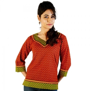 Ethnic Hand Block Print Red-Green Cotton Top Red-Green Girls Kurti DLI4KUR205