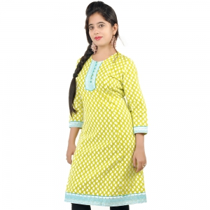Exclusive Hand Block Print Green Cotton Top Green Girls Kurti DLI4KUR545