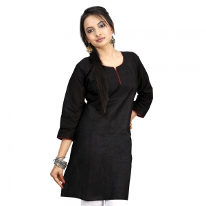 Rajasthani Exclusive Carbon Black Color Fashionable Cotton Kurti DLI4KUR562