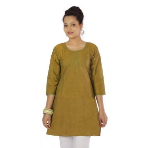 Exclusive Design Traditional Golden Color Pure Cotton Fabric Kurti DLI4KUR568