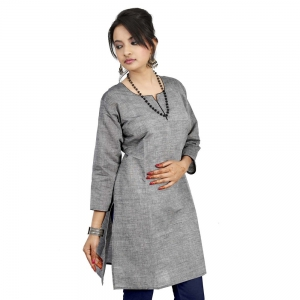 Rajasthani Fashionable Steel Gray Color Girls Cotton Fabric Kurti DLI4KUR571