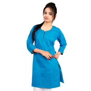 Exclusive Jaipuri Design Turquoise Color Girls Cotton Fabric Kurti DLI4KUR572