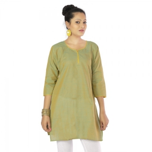 Ethnic Bagru Design Light Green Color Pure Cotton Fabric Girls Kurti DLI4KUR582