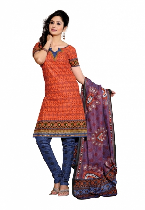 Fabdeal Orange Colored Pure Cotton Printed Dress Material FFLDR5026VU