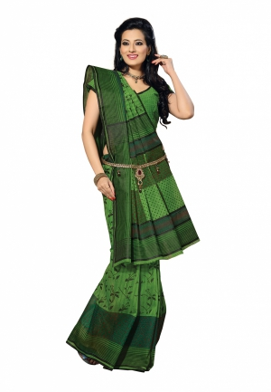 Fabdeal Green Colored Cotton Printed Saree QUPSR374MR