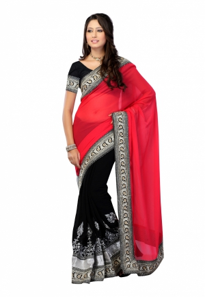 Fabdeal Red And Black Colored Chiffon Plain Saree RLQSR9221SGR