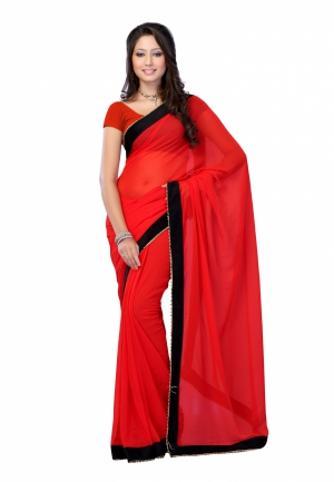 Fabdeal Red Colored Faux Georgette Plain Saree RMDSR9234SGR