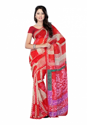 Fabdeal Red And Cream Colored Faux Georgette Printed Saree RNWSR9261NH