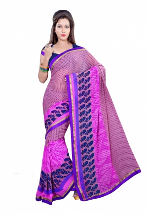 Fabdeal Pink Colored Georgette Printed Saree UENSR522AAL