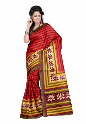 Fabdeal Red Colored Khadi cotton Printed Saree ULMSR9472MR