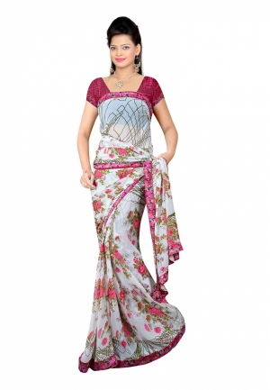 Fabdeal White Colored Georgette Printed Saree UWXSR116FYG
