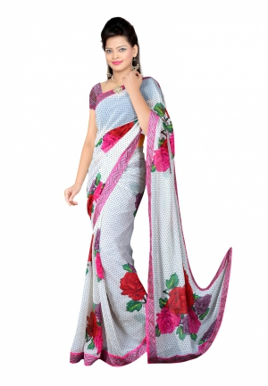 Fabdeal White Colored Georgette Printed Saree UWYSR105FYG