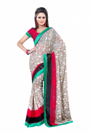 Fabdeal Grey And White Colored Marble Jacquard Printed Saree UZWSR542BAL