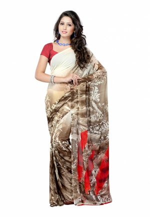 Fabdeal Brown And White Colored Weightless Georgette Printed Saree VLASR0014BSKA