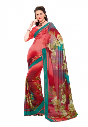 Fabdeal Red Colored Georgette Printed Saree VWBSR1729BSE