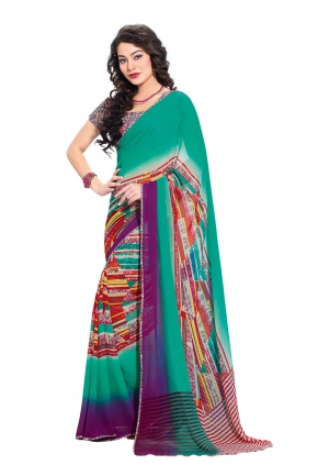 Fabdeal Turquoise And Purple Colored Georgette Printed Saree VWESR1737BSE
