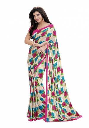 Fabdeal White And Pink Colored Crepe Printed Saree VXVSR1753ASE