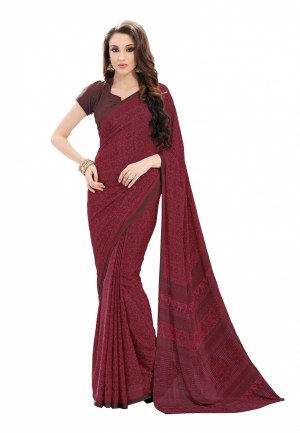Fabdeal Purple And Brown Colored Crepe Printed Saree VXXSR1756ASE