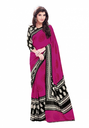 Fabdeal Purple And Black Colored Crepe Printed Saree VYGSR1767BSE
